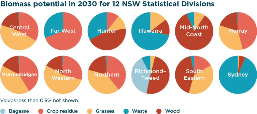Biomass potential in 2030 for 12 NSW Statistical Divisions